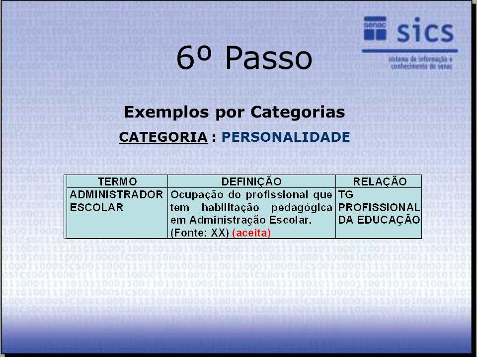 Exemplos por Categorias CATEGORIA : PERSONALIDADE
