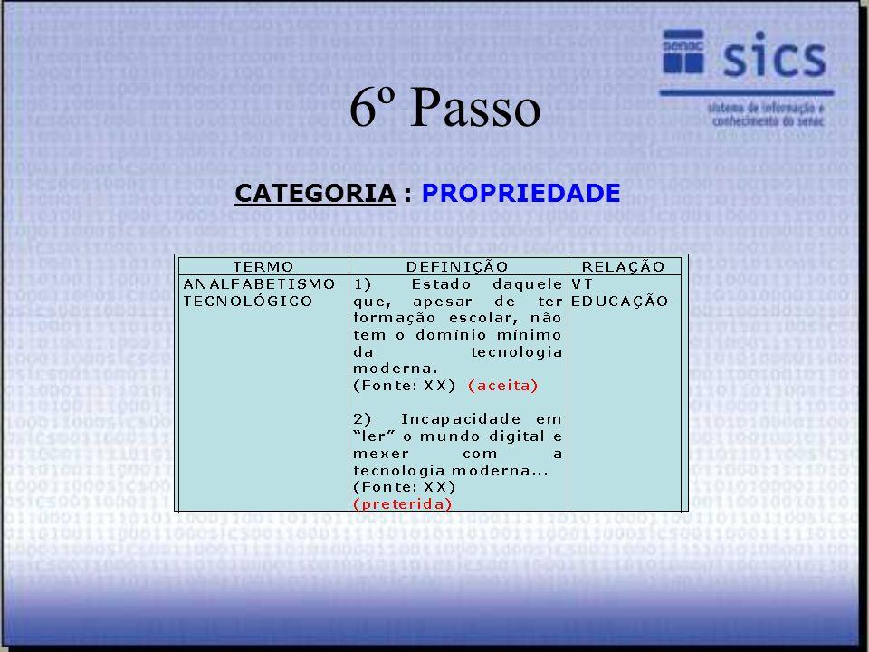 6º Passo CATEGORIA : PROPRIEDADE