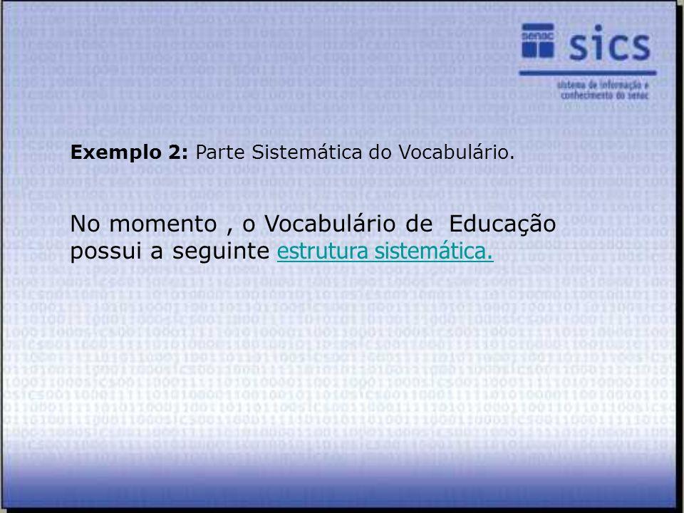 Exemplo 2: Parte Sistemática do Vocabulário. No momento, o Vocabulário de Educação possui a seguinte estrutura sistemática.estrutura sistemática.