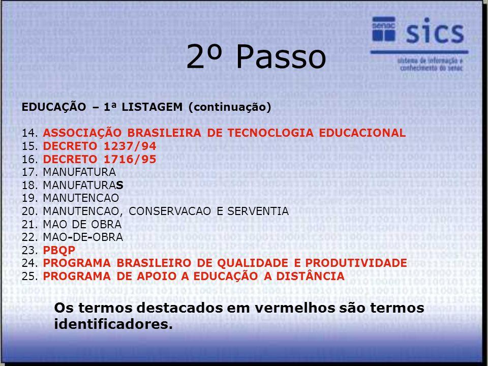 2º Passo EDUCAÇÃO – 1ª LISTAGEM (continuação) 14. ASSOCIAÇÃO BRASILEIRA DE TECNOCLOGIA EDUCACIONAL 15. DECRETO 1237/94 16. DECRETO 1716/95 17. MANUFAT