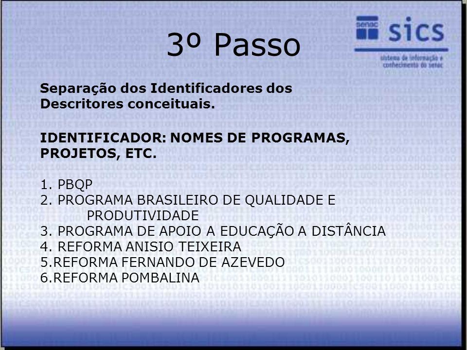 IDENTIFICADOR: NOMES DE PROGRAMAS, PROJETOS, ETC. 1. PBQP 2. PROGRAMA BRASILEIRO DE QUALIDADE E PRODUTIVIDADE 3. PROGRAMA DE APOIO A EDUCAÇÃO A DISTÂN