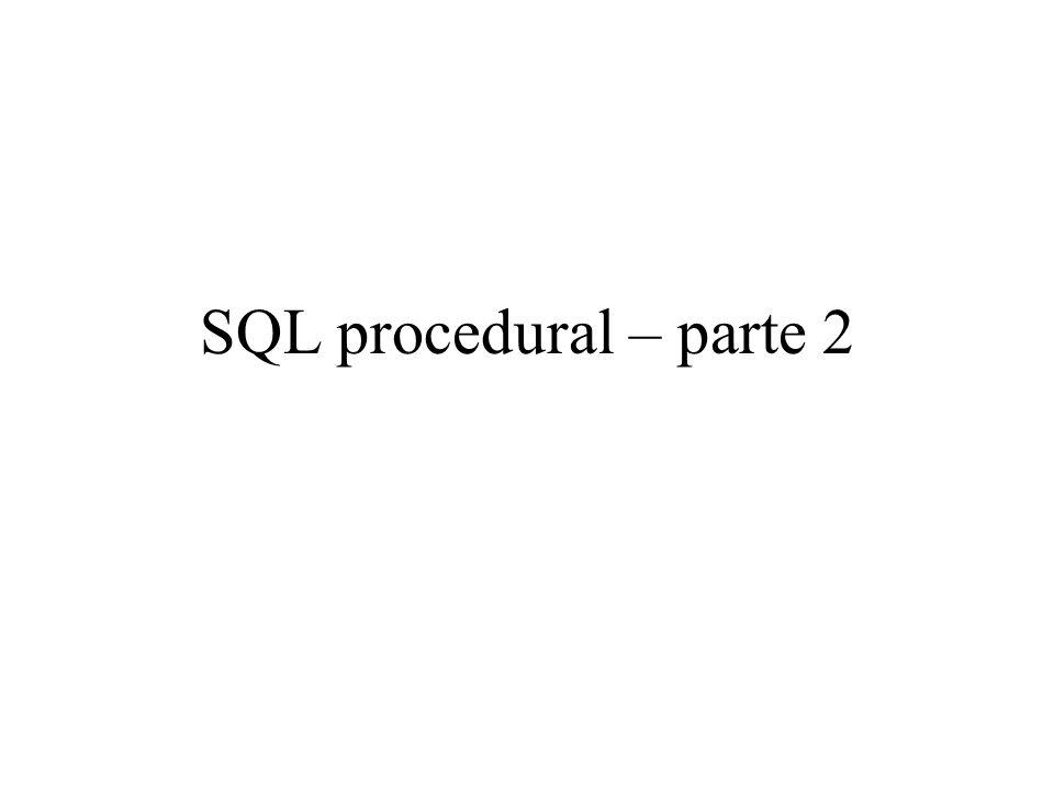 SQL procedural – parte 2