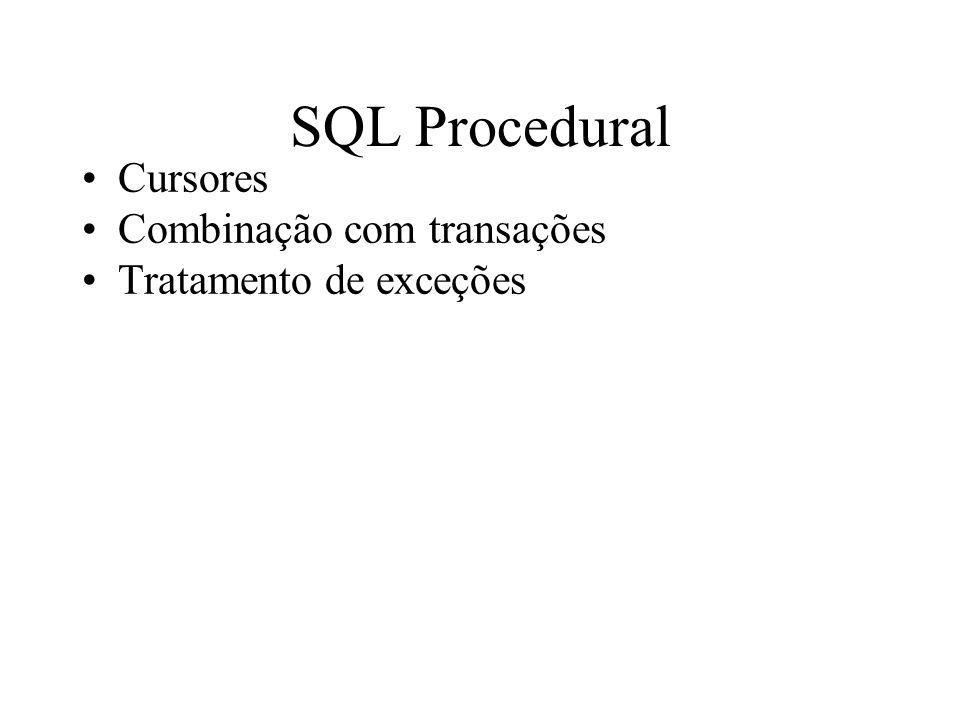 SQL Procedural Cursores Combinação com transações Tratamento de exceções