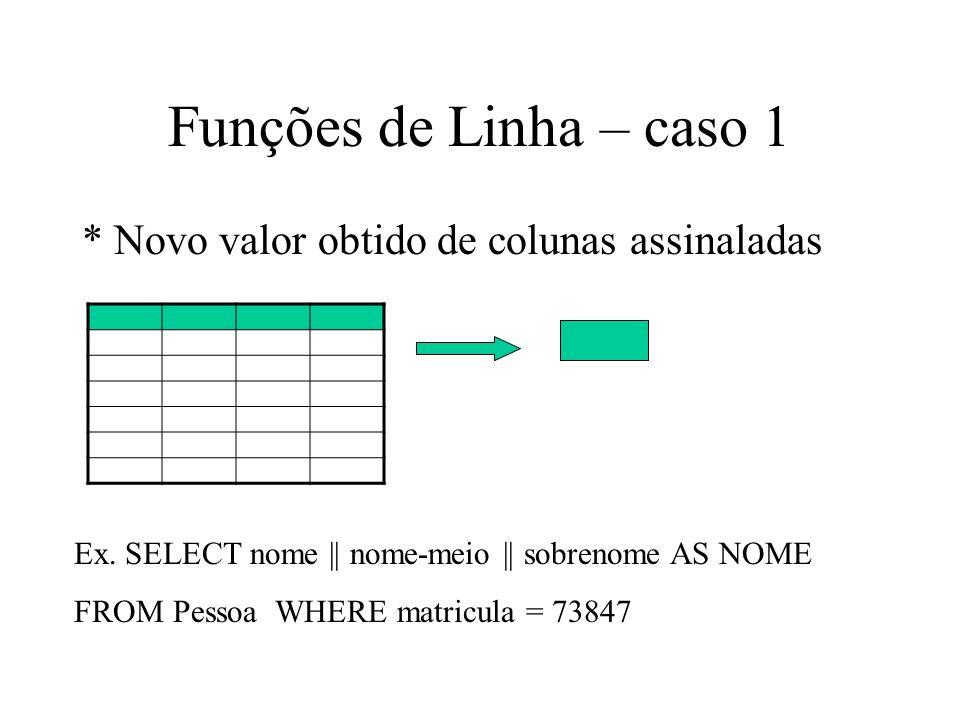 Funções de Linha – caso 1 * Novo valor obtido de colunas assinaladas Ex.