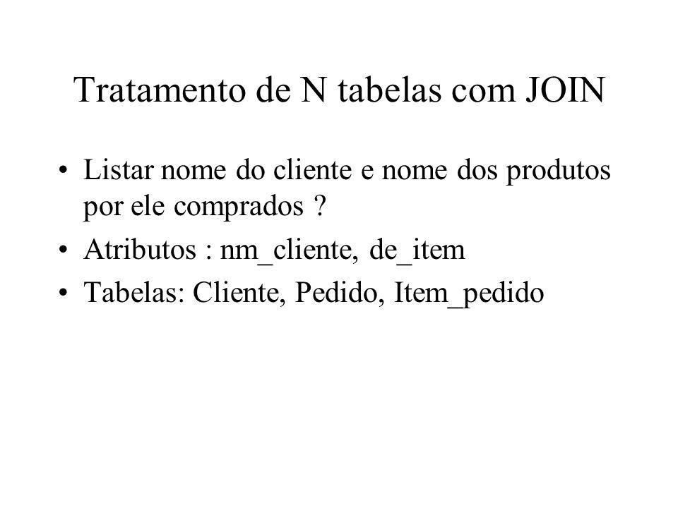 Tratamento de N tabelas com JOIN Listar nome do cliente e nome dos produtos por ele comprados .