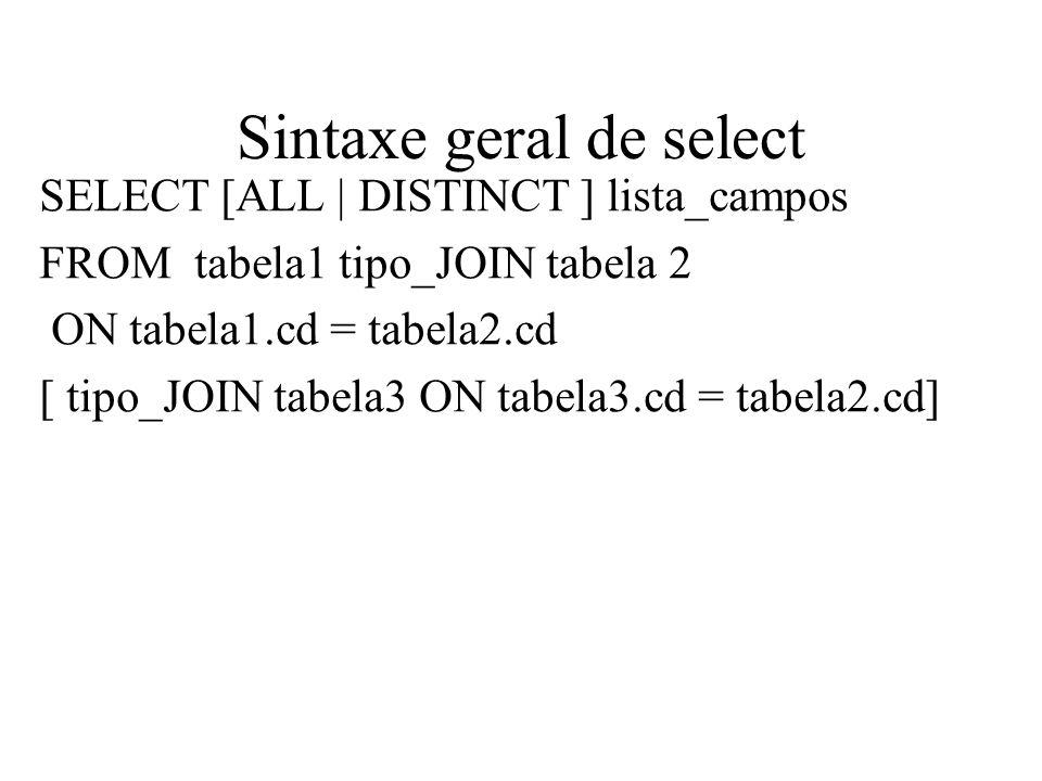 Cross Join ( Produto cartesiano) SELECT nome_func, nome_depto, FROM funcionario, depto; SELECT nome_func, nome_depto, FROM funcionario CROSS JOIN depto;