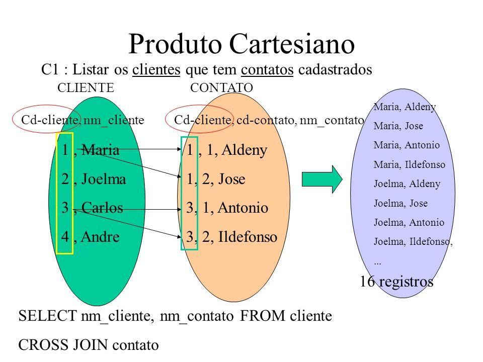 Natural Join ( Junção Natural) SELECT nome_func, nome_depto, FROM funcionario f, depto d WHERE d.cd_depto = f.cd_depto SELECT nome_func, nome_depto, FROM funcionario NATURAL JOIN depto; Campos de nome igual entre as tabelas serão condição de junção