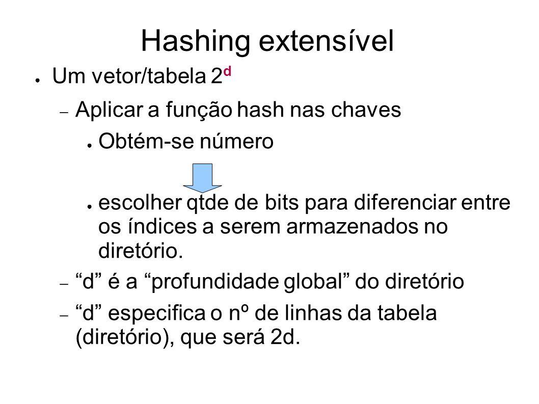 Hashing extensível Um vetor/tabela 2 d Aplicar a função hash nas chaves Obtém-se número escolher qtde de bits para diferenciar entre os índices a serem armazenados no diretório.