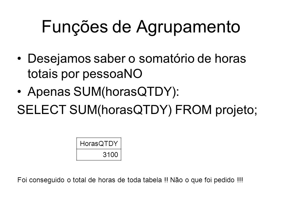 Funções de Agrupamento Desejamos saber o somatório de horas totais por pessoaNO Apenas SUM(horasQTDY): SELECT SUM(horasQTDY) FROM projeto; HorasQTDY 3