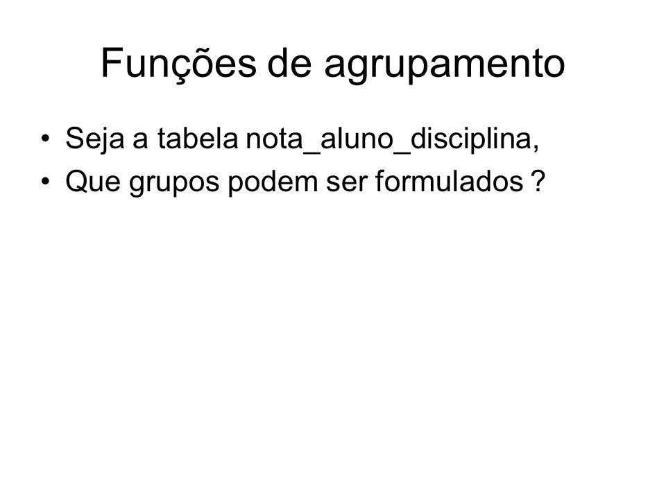 Funções de agrupamento Seja a tabela nota_aluno_disciplina, Que grupos podem ser formulados ?