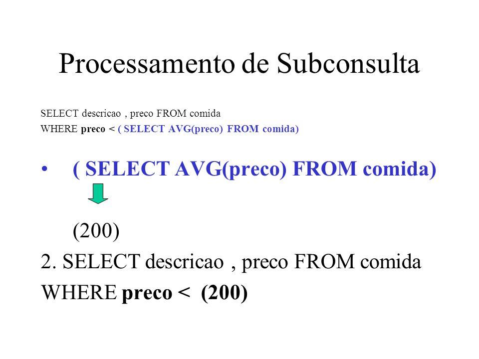 Subconsultas que retornam de lista de valores Dois casos possíveis: 1.Um valor único 2.Lista de valores O resultado da subconsulta deve estar dentro da declaração da consulta externa.