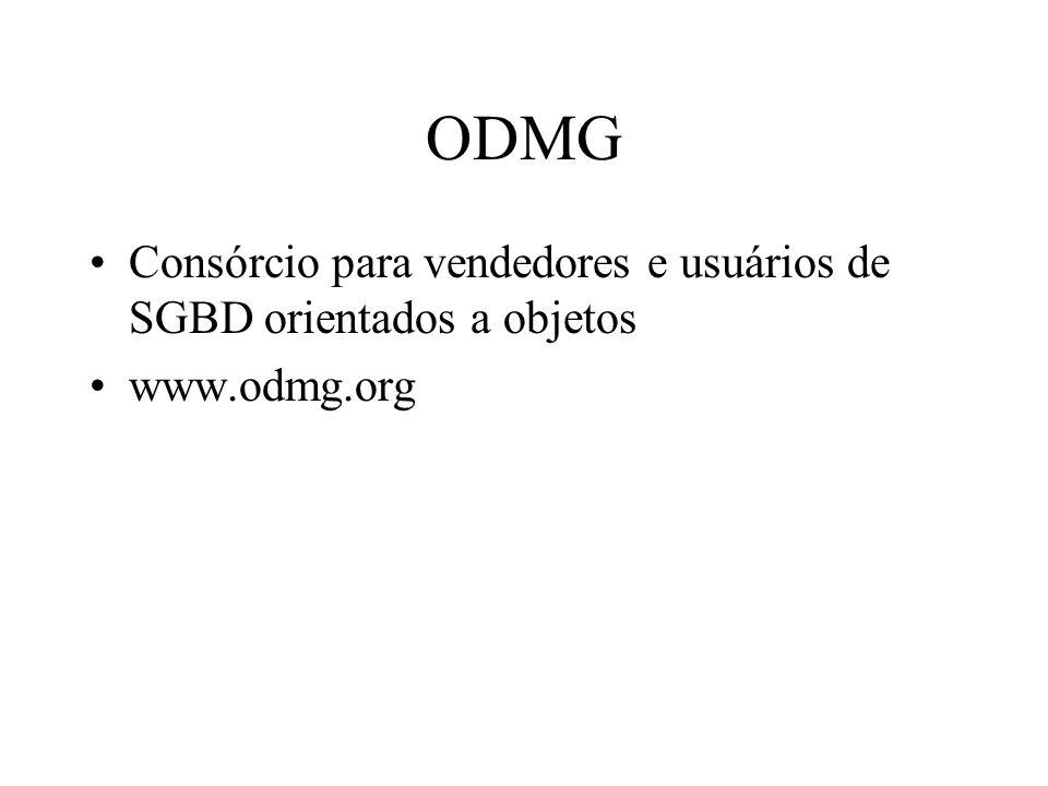 ODMG Consórcio para vendedores e usuários de SGBD orientados a objetos www.odmg.org