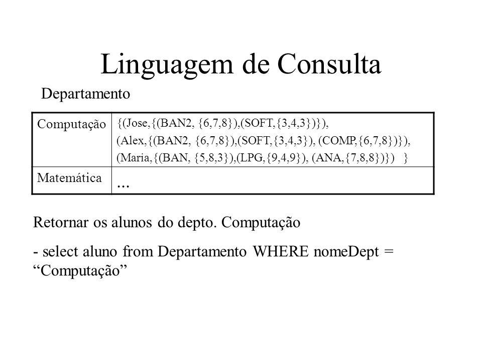 Linguagem de Consulta Computação {(Jose,{(BAN2, {6,7,8}),(SOFT,{3,4,3})}), (Alex,{(BAN2, {6,7,8}),(SOFT,{3,4,3}), (COMP,{6,7,8})}), (Maria,{(BAN, {5,8,3}),(LPG,{9,4,9}), (ANA,{7,8,8})}) } Matemática...