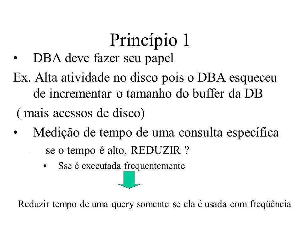 Princípio 1 DBA deve fazer seu papel Ex. Alta atividade no disco pois o DBA esqueceu de incrementar o tamanho do buffer da DB ( mais acessos de disco)