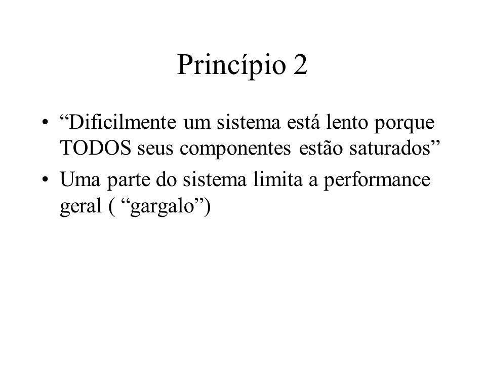 Princípio 2 Dificilmente um sistema está lento porque TODOS seus componentes estão saturados Uma parte do sistema limita a performance geral ( gargalo