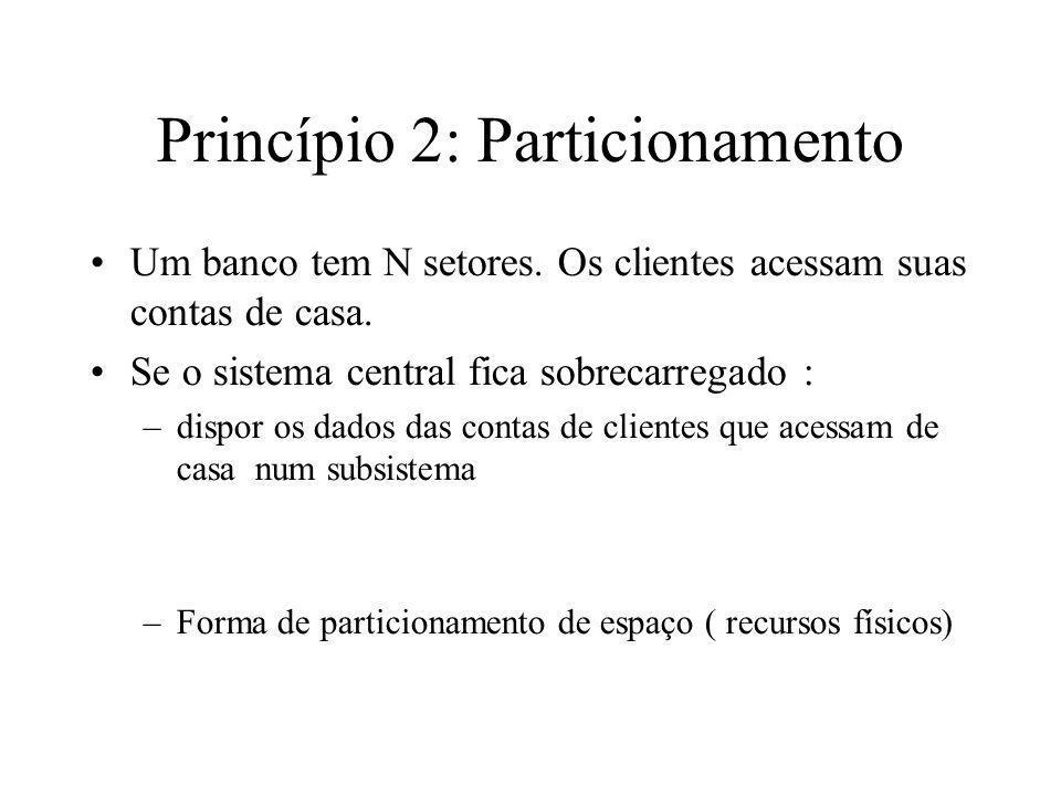 Princípio 2: Particionamento Um banco tem N setores. Os clientes acessam suas contas de casa. Se o sistema central fica sobrecarregado : –dispor os da