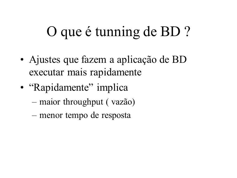 O que é tunning de BD ? Ajustes que fazem a aplicação de BD executar mais rapidamente Rapidamente implica –maior throughput ( vazão) –menor tempo de r