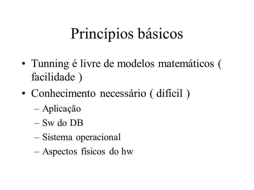 Princípios básicos Tunning é livre de modelos matemáticos ( facilidade ) Conhecimento necessário ( difícil ) –Aplicação –Sw do DB –Sistema operacional