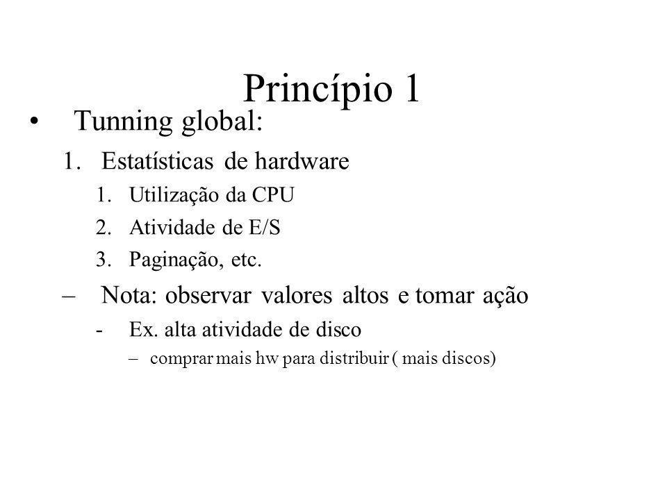 Princípio 1 Tunning global: 1.Estatísticas de hardware 1.Utilização da CPU 2.Atividade de E/S 3.Paginação, etc. –Nota: observar valores altos e tomar