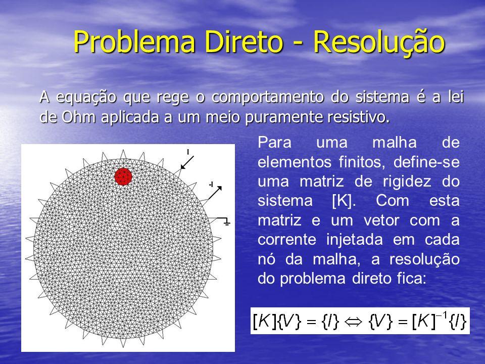 Problema Direto - Resolução A equação que rege o comportamento do sistema é a lei de Ohm aplicada a um meio puramente resistivo. Para uma malha de ele