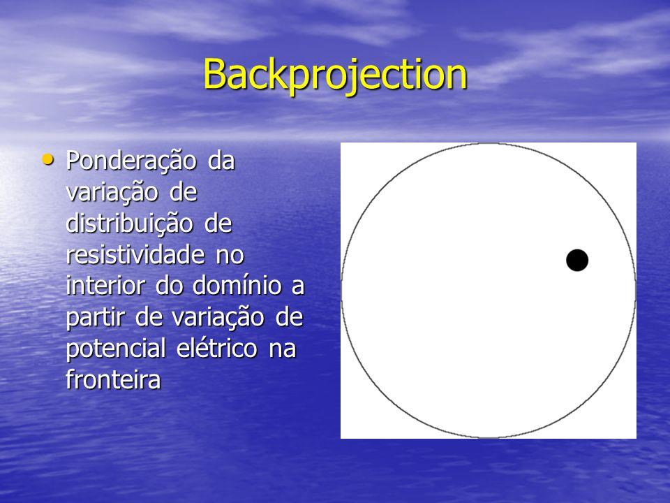 Backprojection Ponderação da variação de distribuição de resistividade no interior do domínio a partir de variação de potencial elétrico na fronteira