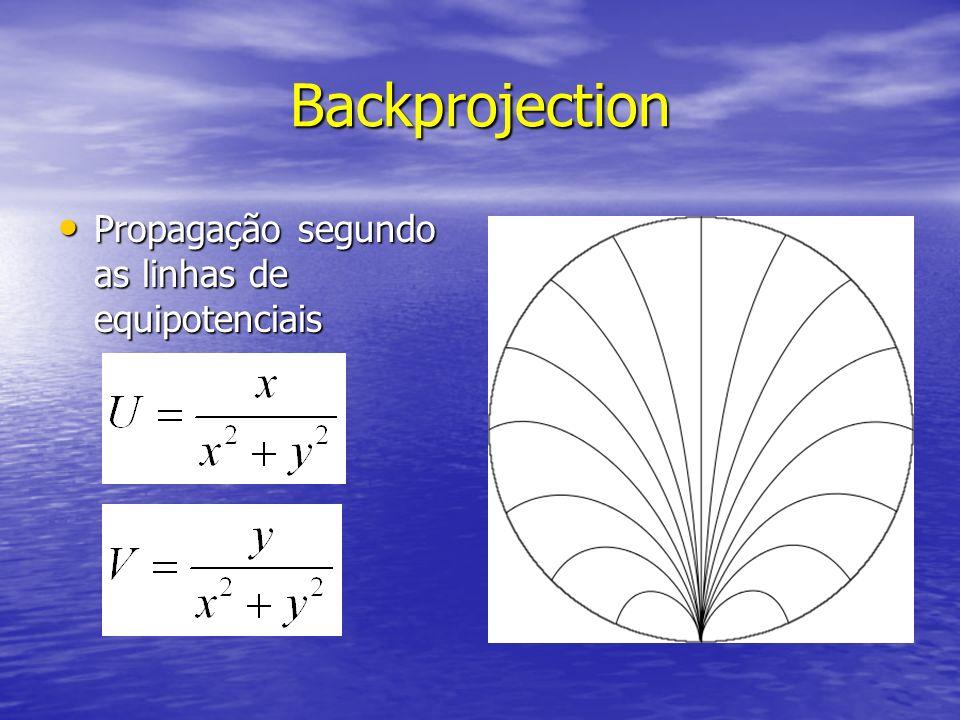 Backprojection Propagação segundo as linhas de equipotenciais Propagação segundo as linhas de equipotenciais