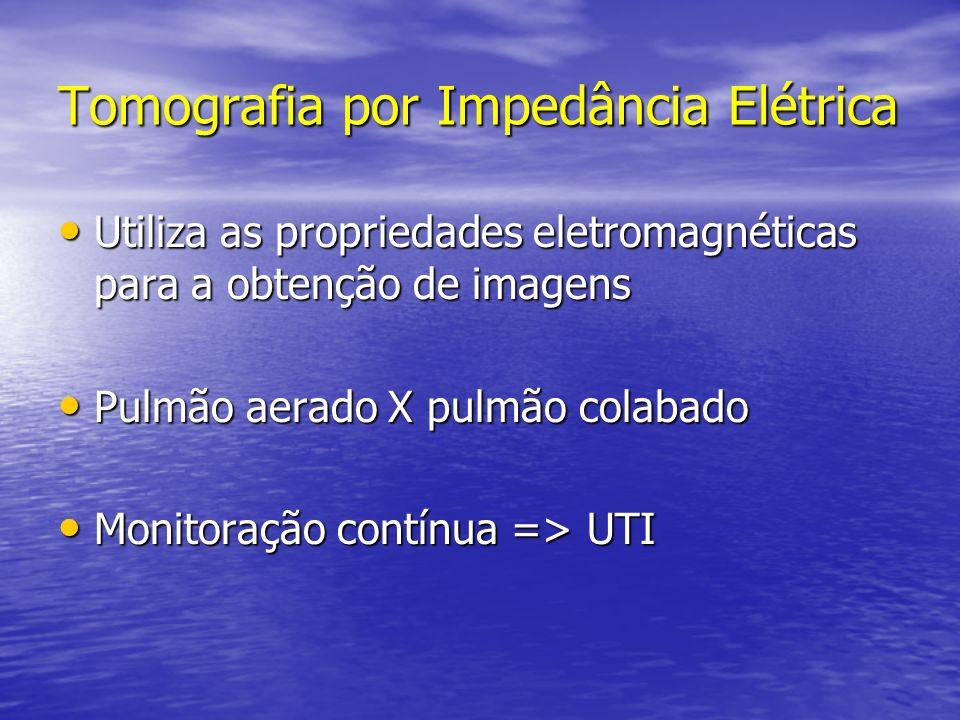 Tomografia por Impedância Elétrica Utiliza as propriedades eletromagnéticas para a obtenção de imagens Utiliza as propriedades eletromagnéticas para a