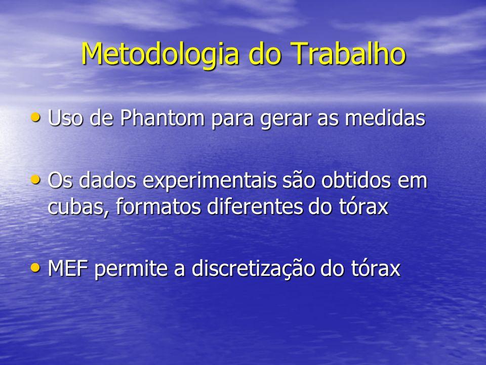 Metodologia do Trabalho Uso de Phantom para gerar as medidas Uso de Phantom para gerar as medidas Os dados experimentais são obtidos em cubas, formato