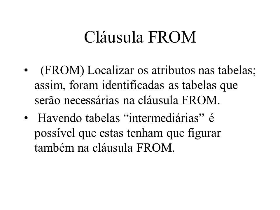 Cláusula FROM (FROM) Localizar os atributos nas tabelas; assim, foram identificadas as tabelas que serão necessárias na cláusula FROM.