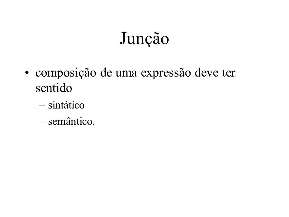 Junção composição de uma expressão deve ter sentido –sintático –semântico.