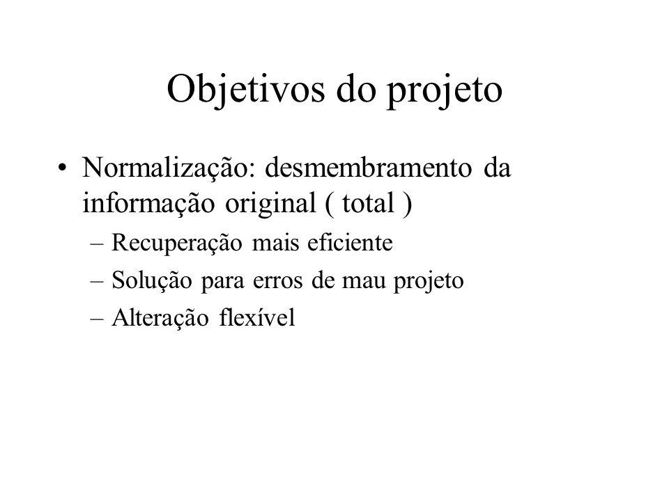 Objetivos do projeto Normalização: desmembramento da informação original ( total ) –Recuperação mais eficiente –Solução para erros de mau projeto –Alteração flexível