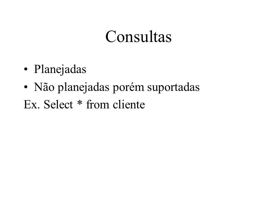 Consultas Planejadas Não planejadas porém suportadas Ex. Select * from cliente