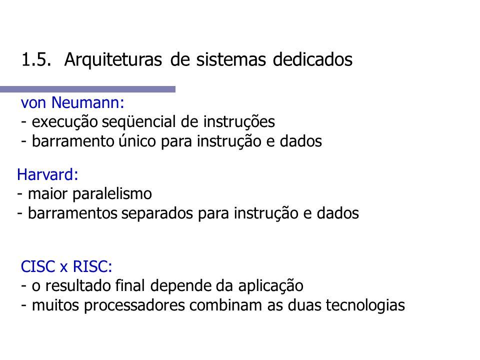 1.5. Arquiteturas de sistemas dedicados von Neumann: - execução seqüencial de instruções - barramento único para instrução e dados Harvard: - maior pa