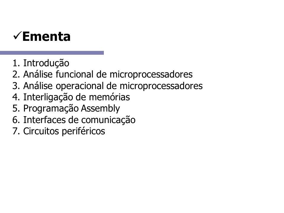 Microcontroladores com memória externa Composição (usual): - barramento de 16 ou 32 bits - memórias de programa e dados externas - controladores de DMA e de interrupção Características (gerais): - possuem pouco pinos de e/s - muita memória (mega bytes) - aproveitamento de tecnologias anteriores (8088, Z80, etc) Alcance: - sistemas de controle de memória de massa, máquinas de diversão, outros