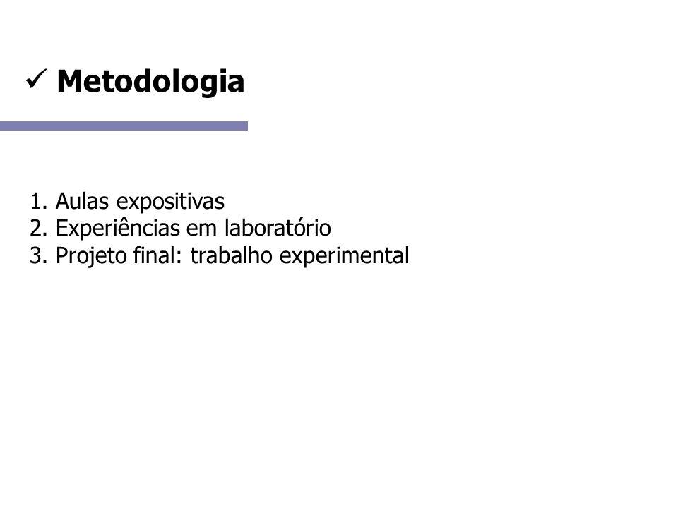 Metodologia 1. Aulas expositivas 2. Experiências em laboratório 3.