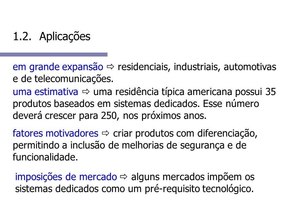 1.2. Aplicações em grande expansão residenciais, industriais, automotivas e de telecomunicações.