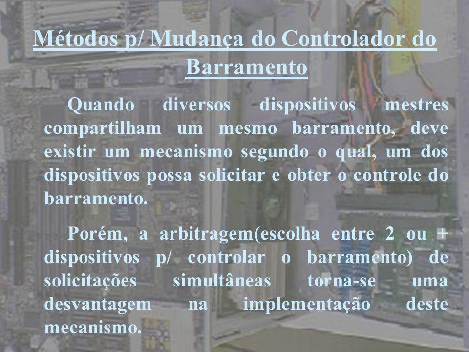 Métodos p/ Mudança do Controlador do Barramento Quando diversos dispositivos mestres compartilham um mesmo barramento, deve existir um mecanismo segun