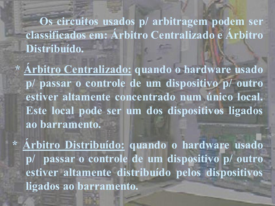 Os circuitos usados p/ arbitragem podem ser classificados em: Árbitro Centralizado e Árbitro Distribuído. * Árbitro Centralizado: quando o hardware us