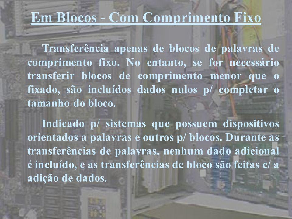 Em Blocos - Com Comprimento Fixo Transferência apenas de blocos de palavras de comprimento fixo. No entanto, se for necessário transferir blocos de co