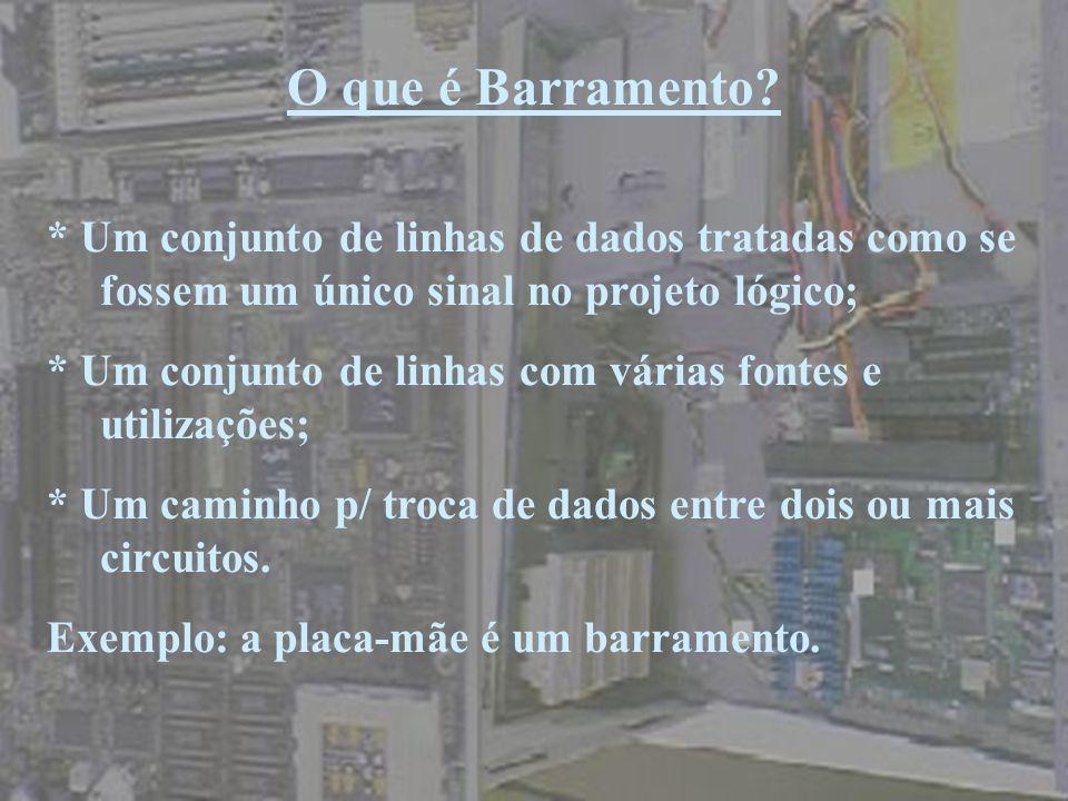 O que é Barramento? * Um conjunto de linhas de dados tratadas como se fossem um único sinal no projeto lógico; * Um conjunto de linhas com várias font