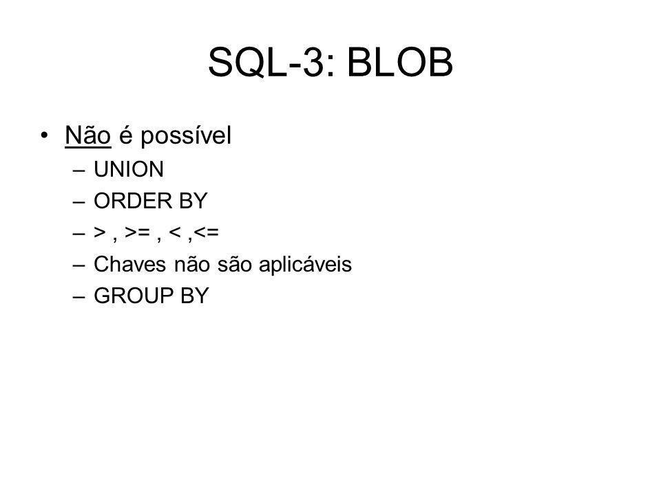 SQL-3: BLOB Não é possível –UNION –ORDER BY –>, >=, <,<= –Chaves não são aplicáveis –GROUP BY