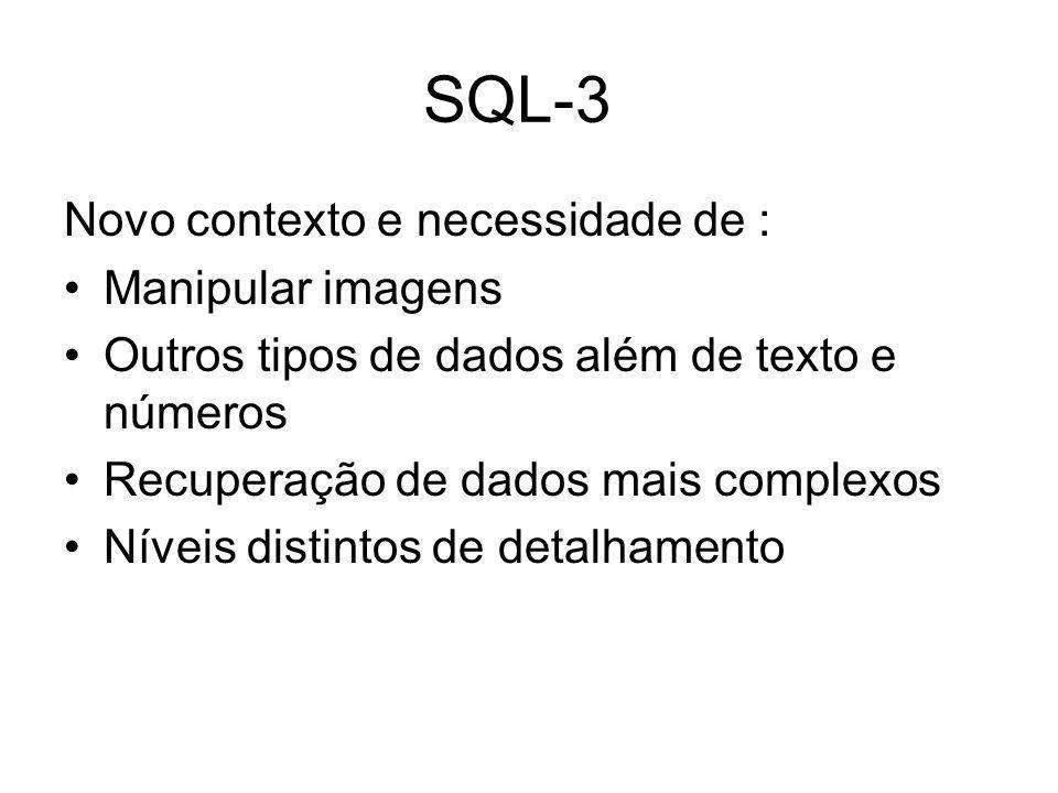 Novo contexto e necessidade de : Manipular imagens Outros tipos de dados além de texto e números Recuperação de dados mais complexos Níveis distintos de detalhamento