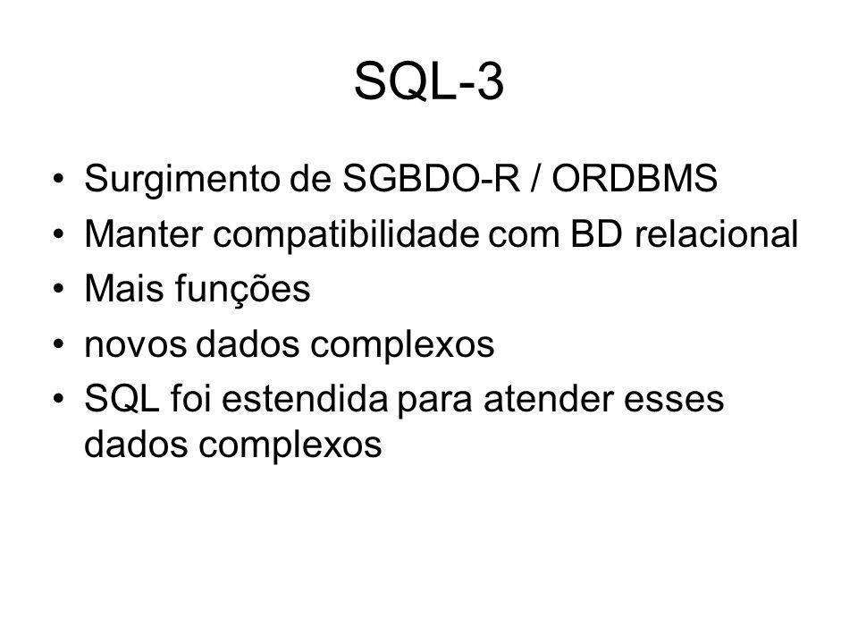 SQL-3 Surgimento de SGBDO-R / ORDBMS Manter compatibilidade com BD relacional Mais funções novos dados complexos SQL foi estendida para atender esses dados complexos