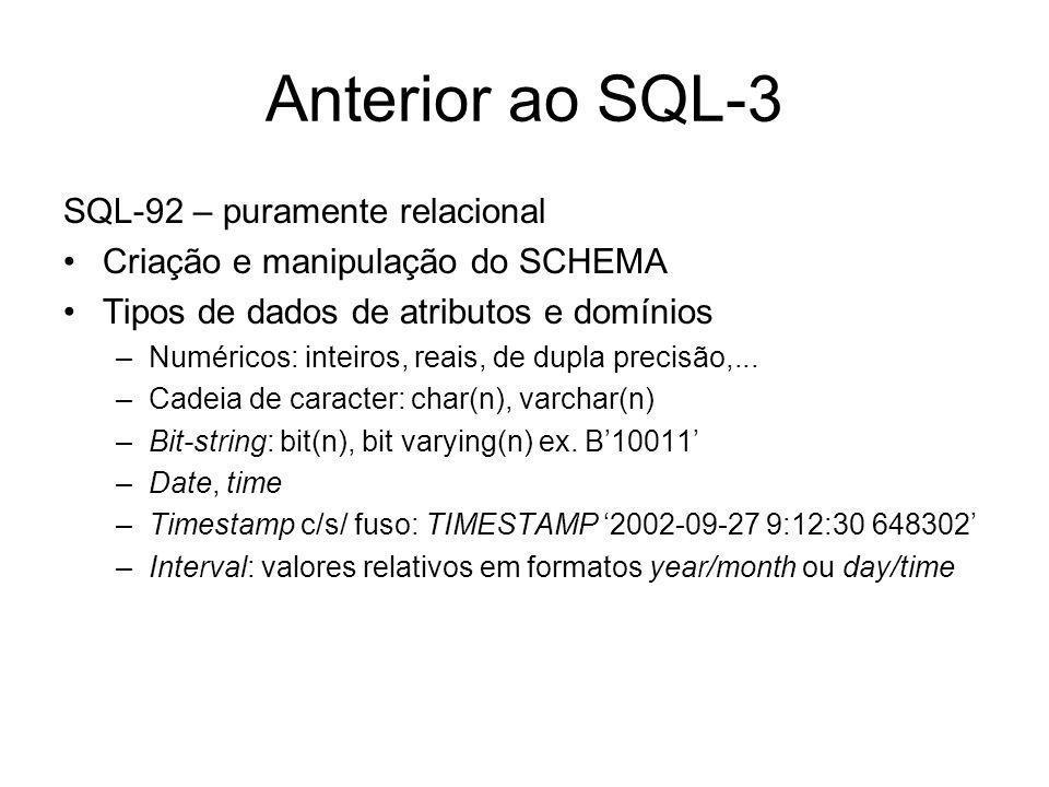 Anterior ao SQL-3 SQL-92 – puramente relacional Criação e manipulação do SCHEMA Tipos de dados de atributos e domínios –Numéricos: inteiros, reais, de dupla precisão,...