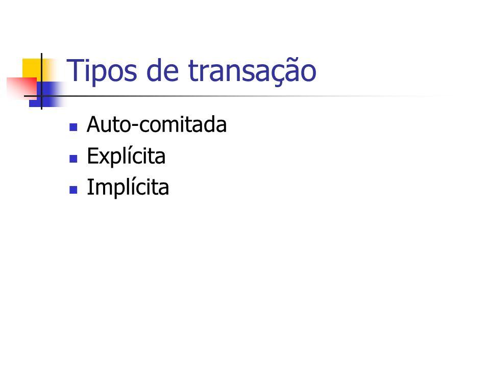 Transação Auto-Comitada Padrão Microsoft Cada instrução é uma transação isolada Falha no modelo