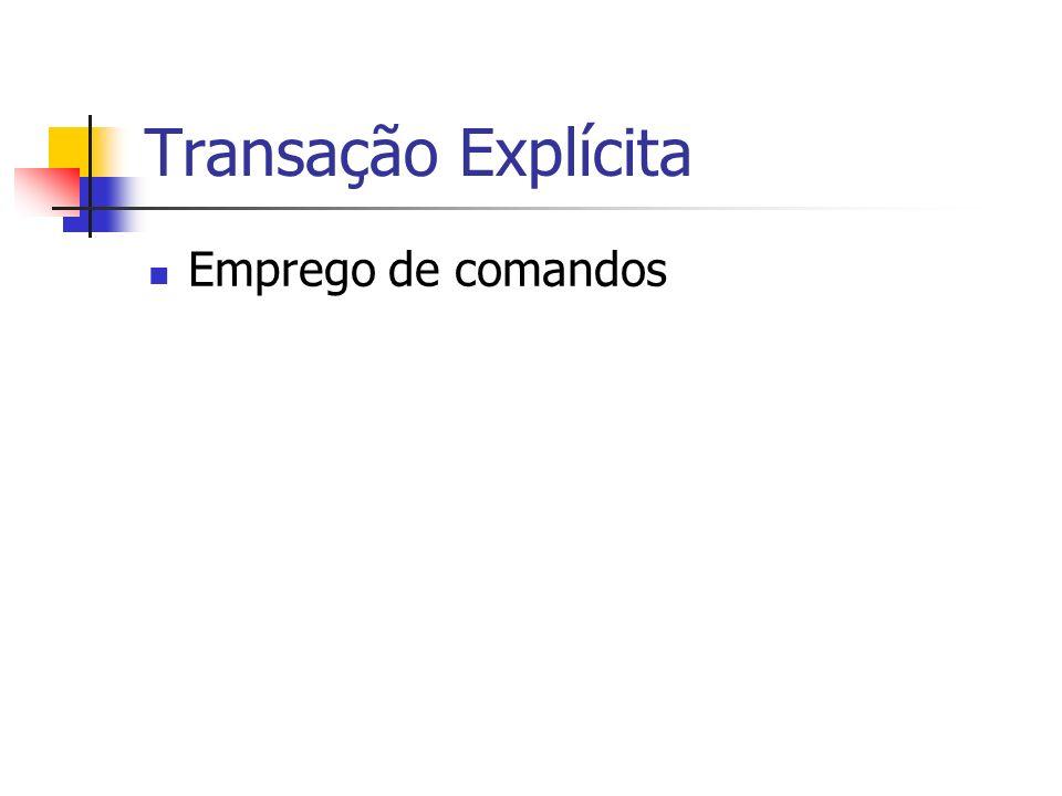Transação Implícita Comando parcial Ativação modo SET IMPLICIT_TRANSACTIONS ON