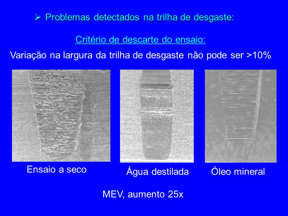 Problemas detectados na trilha de desgaste: Problemas detectados na trilha de desgaste: Ensaio a seco Óleo mineral Água destilada MEV, aumento 25x Critério de descarte do ensaio: Variação na largura da trilha de desgaste não pode ser >10%