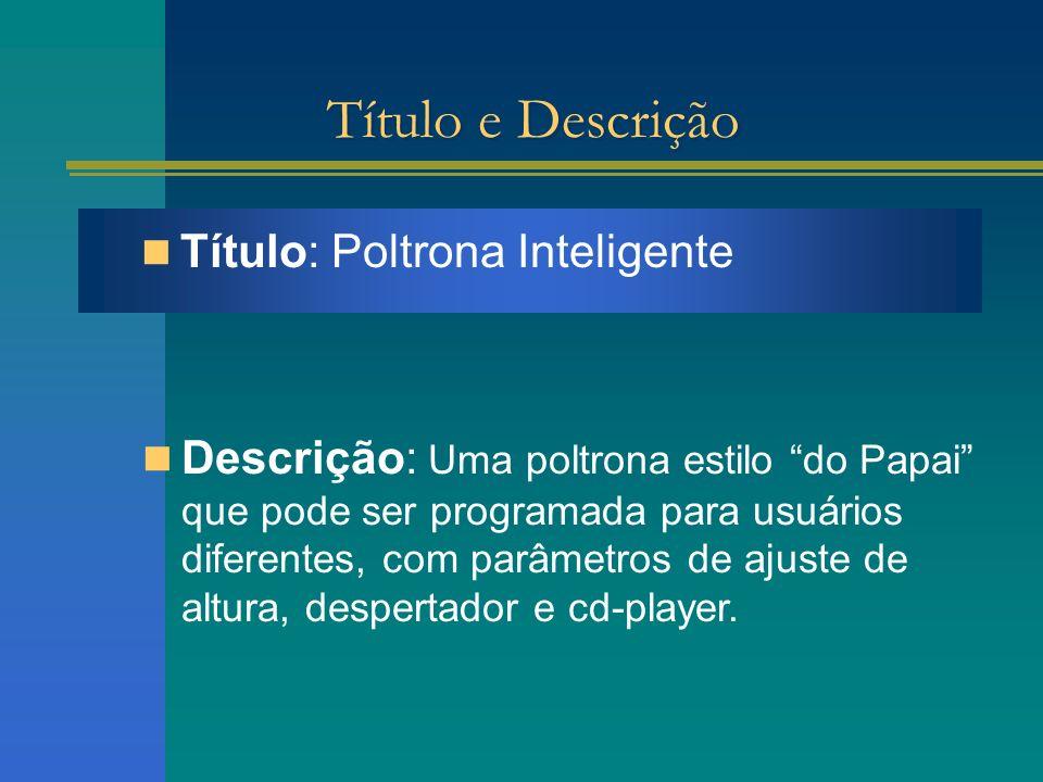 Título e Descrição Título: Poltrona Inteligente Descrição: Uma poltrona estilo do Papai que pode ser programada para usuários diferentes, com parâmetr