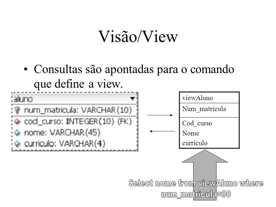 Visão/View Consultas são apontadas para o comando que define a view. viewAluno Num_matricula Cod_curso Nome curriculo