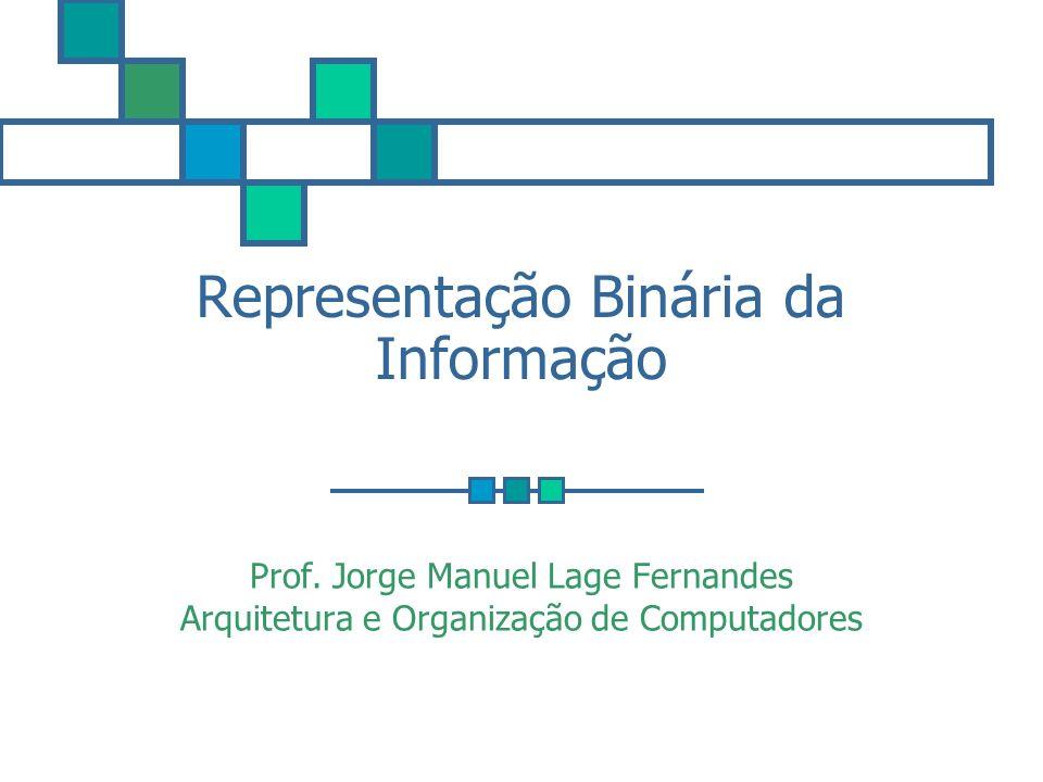 Representação Binária da Informação Prof. Jorge Manuel Lage Fernandes Arquitetura e Organização de Computadores